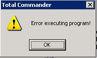 Error executing program Total Commander